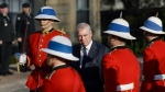 Prince Andrew, the Duke of York, performs an inspection of the Guard of Honour during a visit to Government House in Halifax on Thursday, May 23, 2019.  (THE CANADIAN PRESS/Darren Calabrese)