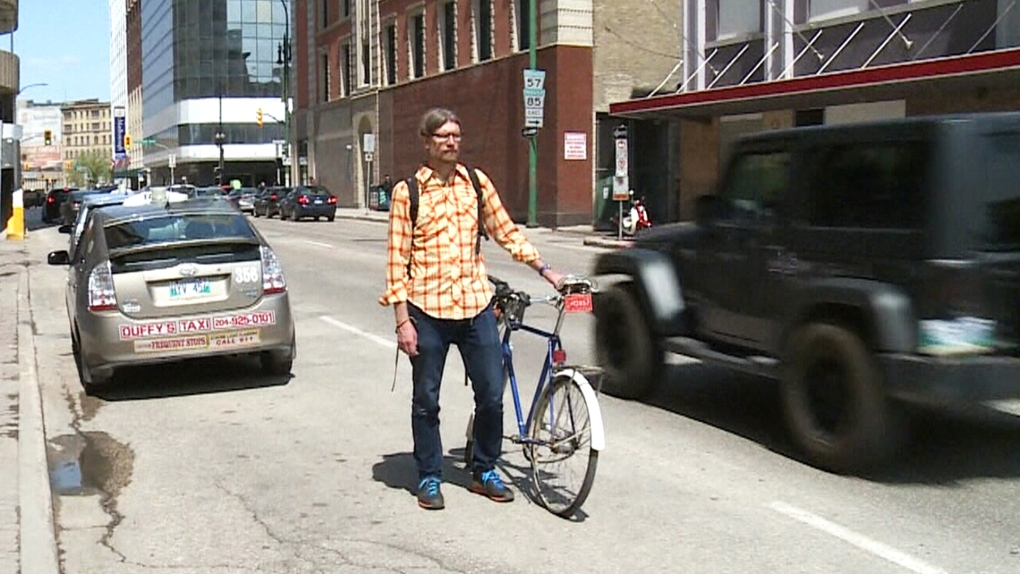 Winnipeg cyclist sending a message about equal rights to the road
