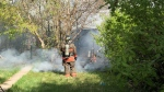 The Saskatoon Fire Department responded Thursday afternoon to a fence on fire in the 400 block of Avenue T South. (Courtesy Saskatoon Fire Department)