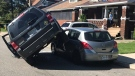 Luckily no one was injured after a SUV ended on top of another vehicle in Windsor on May 23, 2019. ( Angelo Aversa / CTV Windsor )