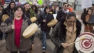 Protesters show their support for Cindy Gladue attend a rally along Edmonton's city streets on Thursday, April 2, 2015. Topher Seguin / THE CANADIAN PRESS