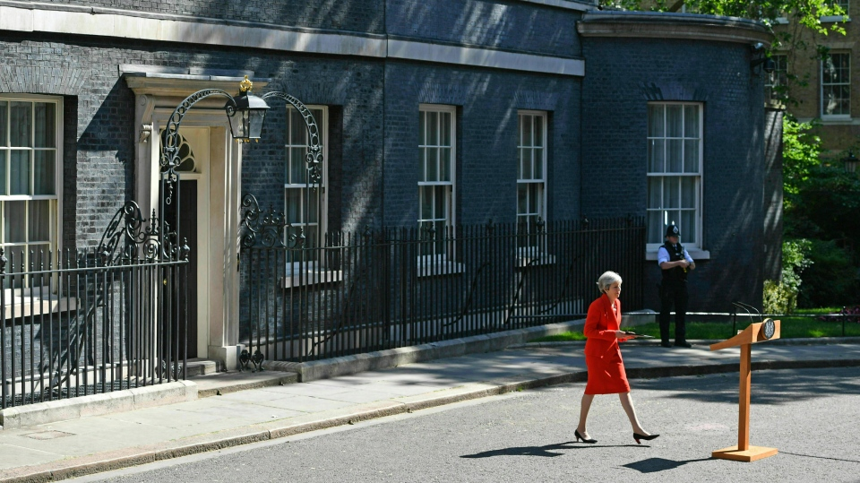 Britain's Prime Minister Theresa May arrives to make a statement outside at 10 Downing Street in London, Friday May 24, 2019. (Dominic Lipinski/PA via AP)