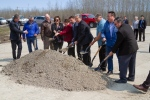 Local Indigenous and community groups and government representatives took part in a ground-breaking ceremony on the new terminal access road. Facebook photo/City of Thompson