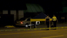 Police respond to a car crash in Coquitlam, B.C. that left one person dead on May 23, 2019.