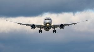 An Air Canada plane is seen landing at Toronto Pearson International Airport. (Tom Podolec  / CTV News Toronto)