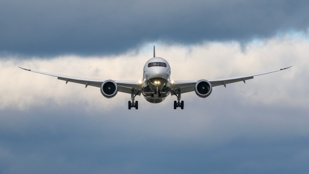 An Air Canada plane is seen landing at Toronto Pearson International Airport. (Tom Podolec  / CTV News Toronto)