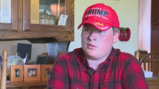 Jeremy Gebhart said he couldn't believe the logo on his pro-Trump hat was blurred out in a photo in his high school yearbook. (WPMT)