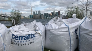 A row of sandbags separate Lake Ontario from the Toronto Islands. (Sean Leathong/CTV News Toronto)