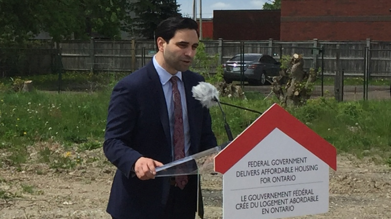 London North Centre MP Peter Fragiskatos speaks on affordable housing funding in London, Ont. on Friday, May 24, 2019. (Bryan Bicknell / CTV London)