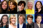 This photo combination show the 10 highest-paid female CEOs for 2018, as calculated by The Associated Press and Equilar, an executive data firm. Top row, from left: Mary Barra, General Motors, $21.9 million; Marillyn Hewson, Lockheed Martin, $21.5 million; Phebe Novakovic, General Dynamics, $20.7 million; Virginia Rometty, IBM, $17.6 million; and Adena Friedman, Nasdaq, $14.4 million. Bottom row, from left: Mary Dillon, Ulta Beauty, $14.2 million; Tricia Griffith, Progressive, $14.2 million; Vicki Hollub, Occidental Petroleum, $14.1 million; Lynn Good, Duke Energy, $13.8 million; and Lisa Su, Advanced Micro Devices, $13.4 million. (AP Photo)