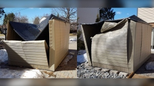 Two crumpled resin sheds still have their roofs buckled in and remain on the property outside Dan Regaudie's Sudbury, Ont. home, unable to make it intact through their first Canadian winter. (Dan Regaudie)