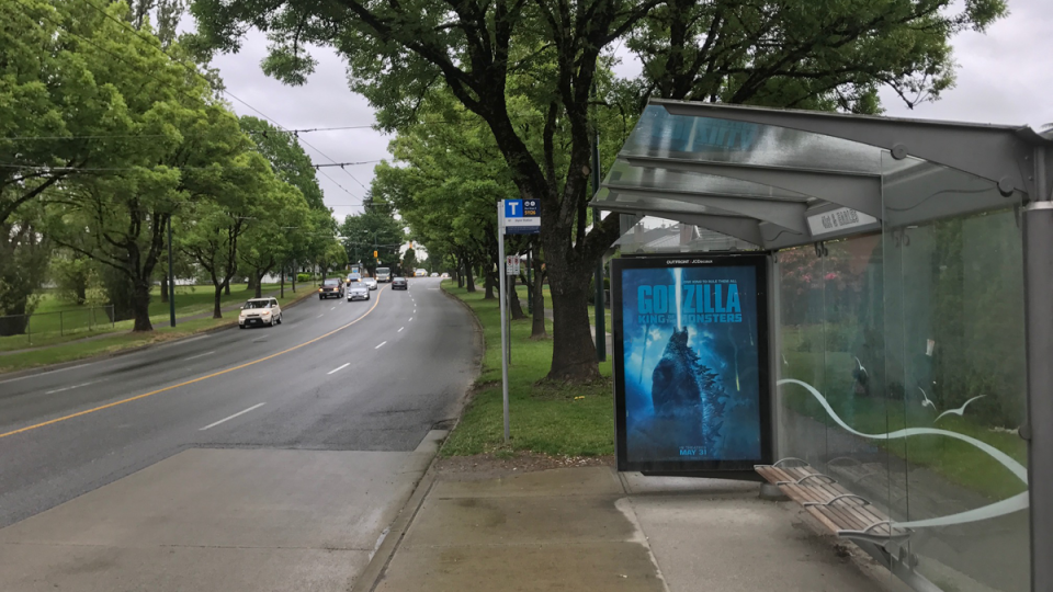 A bus stop is seen on East 41st Avenue near Earles Street in Vancouver, B.C. on Friday, May 24, 2019. Police say a woman was followed home from a bus stop in the area on Thursday morning and sexually assaulted.