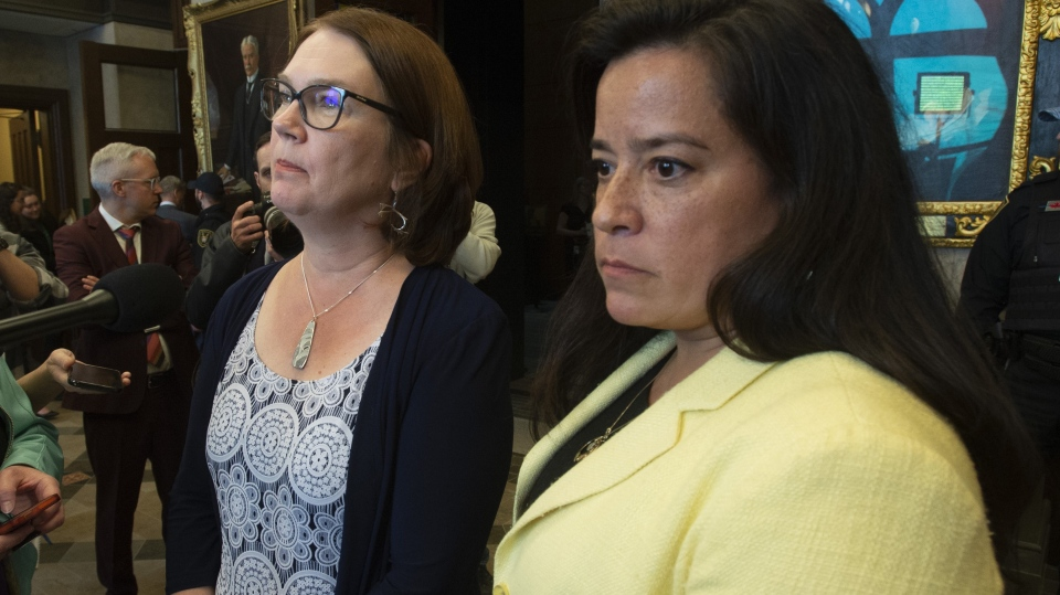 Independent Members of Parliament Jane Philpott and Jody Wilson-Raybould speak with the media before Question Period in the Foyer of the House of Commons in Ottawa, Wednesday April 3, 2019.  (THE CANADIAN PRESS/Adrian Wyld)