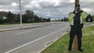 Constable Luc Mongeon's life-size cutout unveiled as Constable Scarecrow Friday in Orléans.