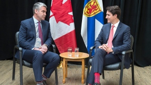 Prime Minister Justin Trudeau, right, meets with Nova Scotia Premier Stephen McNeil in Antigonish, N.S. on Friday, May 24, 2019. THE CANADIAN PRESS/Andrew Vaughan