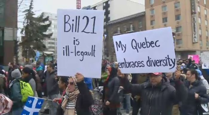 Quebec's Bill 21 became law when it was passed in June, and has led to several protests in recent months.