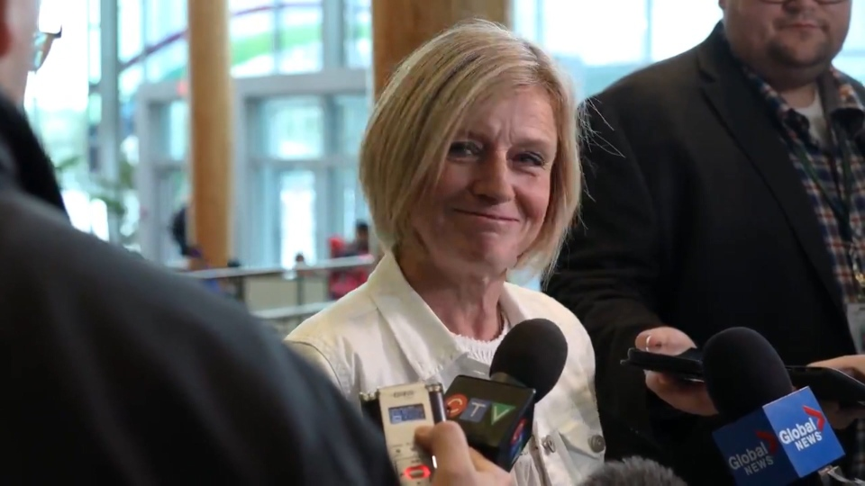 Alberta opposition leader Rachel Notley speaks to reporters about the B.C. Court of Appeal's oil shipment ruling on Friday, May 24, 2019.