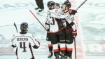 Rouyn-Noranda Huskies' Alex Beaucage, right, celebrates a first period goal with teammates during Memorial Cup hockey action against the Guelph Storm in Halifax on Friday, May 24, 2019. (THE CANADIAN PRESS / Darren Calabrese)