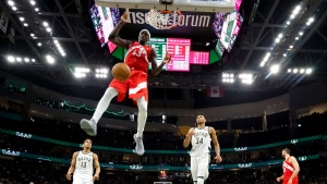 Toronto Raptors' Pascal Siakam dunks during the second half of Game 5 of the NBA Eastern Conference basketball playoff finals against the Milwaukee Bucks Thursday, May 23, 2019, in Milwaukee. (AP Photo/Morry Gash)