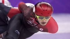Canada's Samuel Girard, of Ferland-et-Boilleau, Que., competes in the men's 1000-metre short-track speedskating quarter-finals at the 2018 Olympic Winter Games, in Gangneung, South Korea on February 17, 2018. THE CANADIAN PRESS/Paul Chiasson