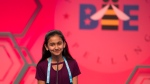 In this May 31, 2018, file photo, Naysa Modi, 12, from Frisco, Texas, spells her word incorrectly during the evening finals of the Scripps National Spelling Bee in Oxon Hill, Md. (AP Photo/Cliff Owen, File)