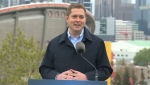 Andrew Scheer, leader of the federal Conservative party, spoke in Calgary on May 25, 2019.