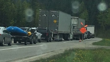 B.C. traffic services say a serious crash has shut down both directions of the Trans-Canada Highway near Revelstoke. (Photo: Mark Luft)