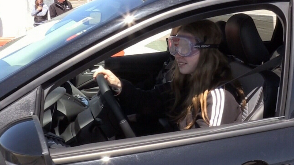 A pair of special goggles attempt to simulate the experience of being impaired behind the wheel.