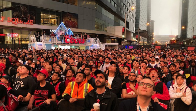 Raptors fans gather in downtown Toronto, on Saturday, May 25, 2019. (Merella Fernandez)