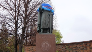 A statue depicting St. Volodymyr outside the Cathedral of Sts. Vladimir and Olga in Winnpeg's north end is shown on Friday May 24, 2019. ( THE CANADIAN PRESS/Kelly Malone)