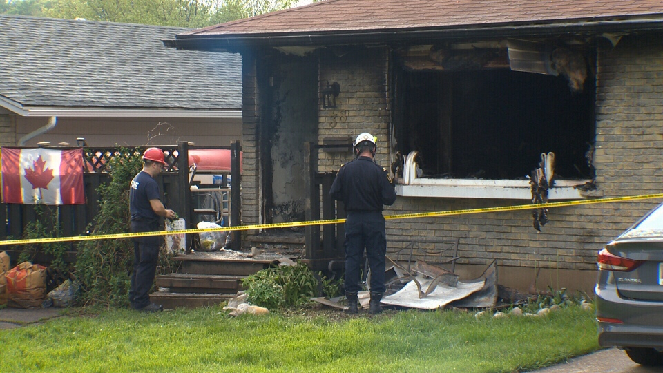 A house on Silver Aspen Crescent with significant fire damage on May 25, 2019 (CTV Kitchener)
