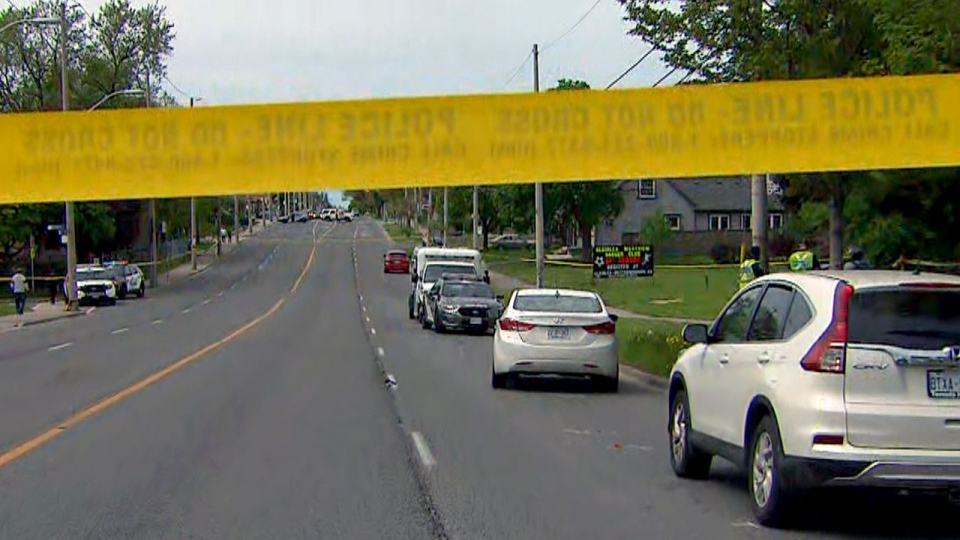 The scene of a collision in the city's east end is seen on May 26, 2019.