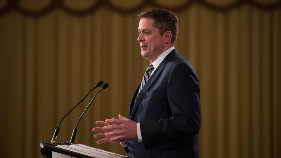 Conservative Leader Andrew Scheer speaks at an event hosted by the Canadian Club of Vancouver, in Vancouver, on Friday May 24, 2019. THE CANADIAN PRESS/Darryl Dyck