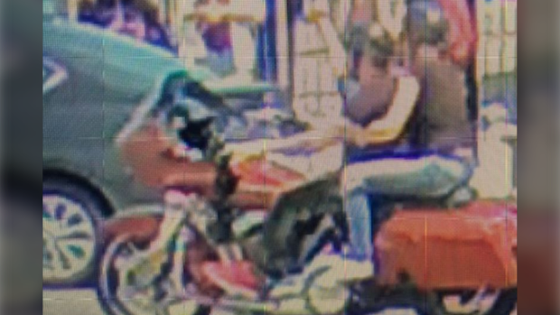 A security camera image released by Toronto police shows the suspects on a motorcycle wanted in Fail to Remain collision. (Toronto Police)
