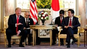 President Donald Trump meets with Japanese Prime Minister Shinzo Abe at Akasake Palace, Monday, May 27, 2019, in Tokyo. (AP Photo/Evan Vucci)