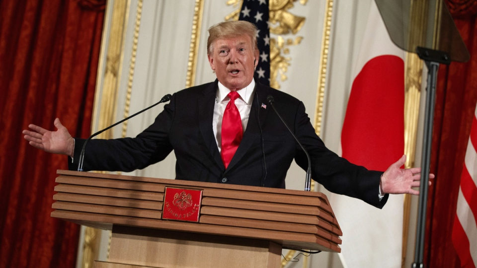 U.S. President Donald Trump speaks during a news conference with Japanese Prime Minister Shinzo Abe at Akasaka Palace, in Tokyo, on May 27, 2019. (Evan Vucci / AP)