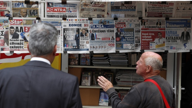 Newspapers for sale in Athens