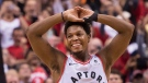 Toronto Raptors guard Kyle Lowry (7) reacts in the finals seconds of second half NBA Eastern Conference finals basketball action against the Milwaukee Bucks, in Toronto on Saturday, May 25, 2019. (The Canadian Press / Nathan Denette)