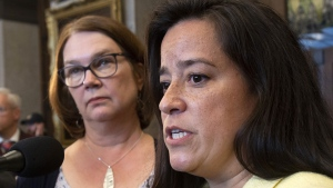 Independent Members of Parliament Jane Philpott and Jody Wilson-Raybould speak with the media before Question Period in the Foyer of the House of Commons in Ottawa, Wednesday April 3, 2019. (THE CANADIAN PRESS / Adrian Wyld)