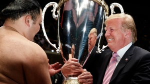 President Trump presents sumo trophy