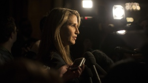Caroline Mulroney, Ontario's Attorney General scrums with journalists following Question Period in the Queen's Park Legislature in Toronto on Tuesday, March 26, 2019. (THE CANADIAN PRESS/Chris Young)