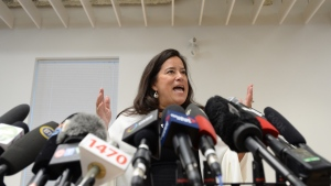 Jody Wilson-Raybould holds a news conference to discuss her political future in Vancouver, Monday, May 27, 2019. THE CANADIAN PRESS/Jonathan Hayward