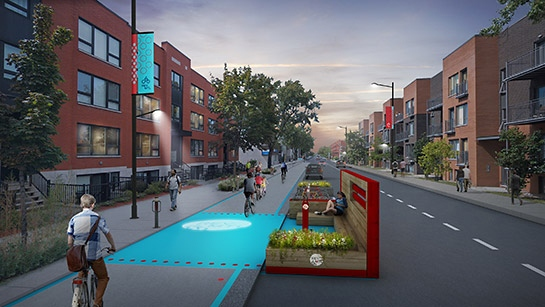 An artist's rendition of what the REV would look like along Lajeunesse in Montreal.