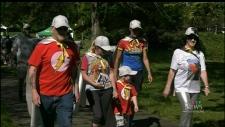 Kaiden's Caped Crusaders participate in the the 24th annual Victoria Brain Tumour Walk. (CTV Vancouver Island)