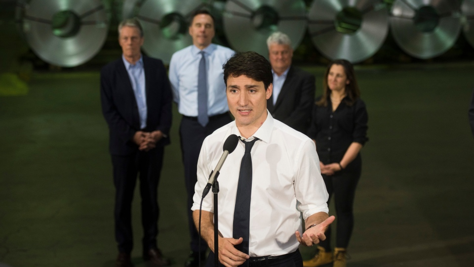 Prime Minister Justin Trudeau answers questions from the media during a visit to Stelco in Hamilton, Ont., on Friday, May 17, 2019. THE CANADIAN PRESS/Tijana Martin