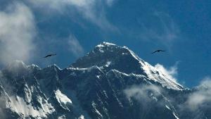 Birds fly as Mount Everest is seen from Namche Bajar, Solukhumbu district, Nepal, Monday, May 27, 2019. (AP Photo/Niranjan Shrestha)