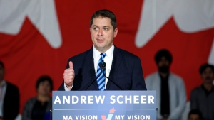 Conservative Party of Canada leader Andrew Scheer announces his immigration policy at an event hall in Toronto, Tuesday, May 28, 2019. (THE CANADIAN PRESS/Cole Burston)