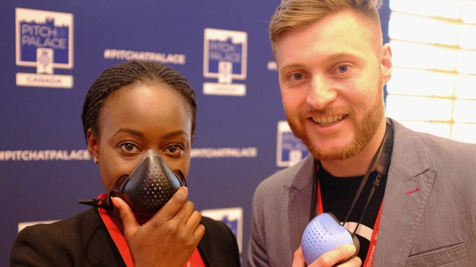 O2 Canada, which creates air pollution respirators, was one of two winners of the Pitch@Palace event held in Toronto. (Jeremiah Rodriguez / CTVNews.ca)