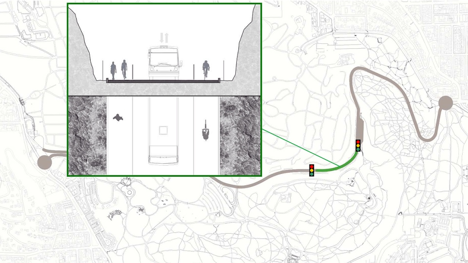 A map showing which part of Camillien Houde Way will be turned into an alternating one-way road for drivers.