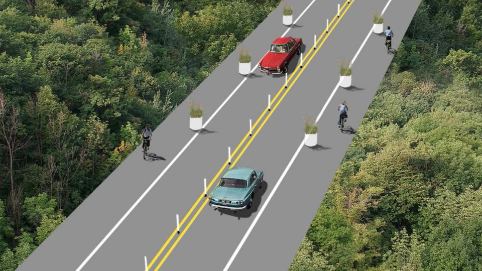 The city of Montreal plans to add more centre-lane bollards, and planters to isolate cyclists from motorists